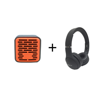 Qub One Bluetooth Speaker (Orange) plus Boompods Headpods (Wired)