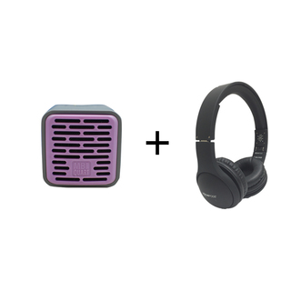 Qub One Bluetooth Speaker (Purple) plus Boompods Headpods (Wired)