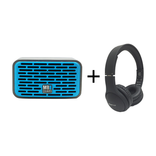 Qub Two Bluetooth Speaker  (Blue) plus Boompods Headpods (Wired)