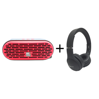 Qub Three Bluetooth Speaker (Red) plus Boompods Headpods (Wired)