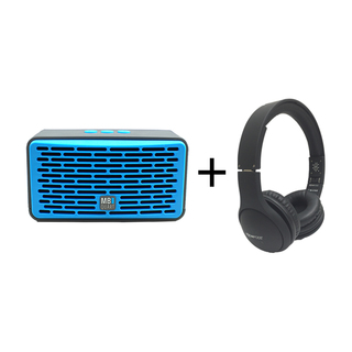 Qub Four Bluetooth Speaker (Blue) plus Boompods Headpods (Wireless)
