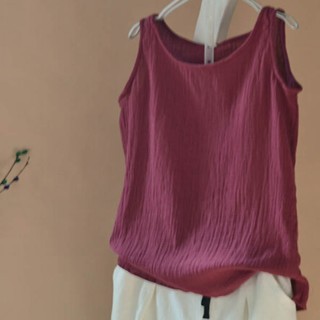 Round Neck Hemp Sleeveless Tops - Red