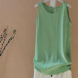 Round Neck Hemp Sleeveless Tops - Green