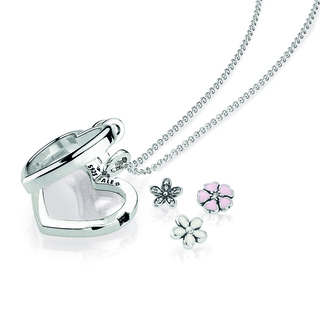 PANDORA HEART FLOATING LOCKET WITH FLOWER MINI CHARMS