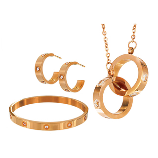INFINITY & CO LONDON AIMEE PENDANT EARRING AND BANGLE ROSE S