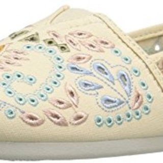 BOBS from Skechers Women's Plush-Candy Coated Flat, Natural/Multi Cutout, 7 M US