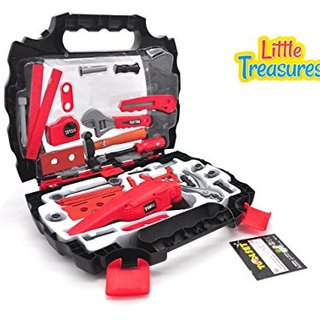 Jr tool box from Little Treasures full of pretend play toys of pliers, wrenches, hammer, power saw, screwdriver, nuts and bolts, level 23-piece tool set with power saw grinder