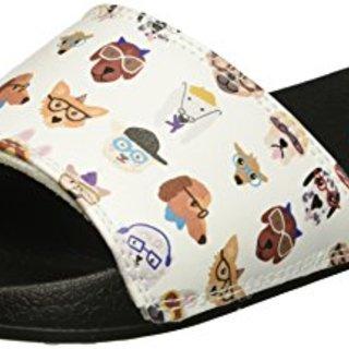 BOBS from Skechers Women's 2nd Take Slide Sandal, White Pup, 8 M US