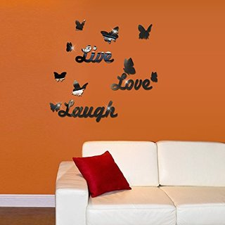 SIS Live,love,laugh,10pcs butterflies- Mirror Face Wall Stickers,decals,tattoos,decor (Black)