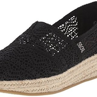 BOBS from Skechers Women's Highlights Amaze Wedge, Black Woven, 11 M US