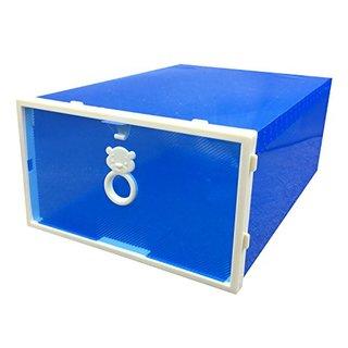 Smilun Shoes Box for Wedges Pumps High Heels Transparent Clear Foldable Shoe Storage Boxes Drawers Shoe Storage Cabinet Blue Bear4PCs