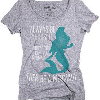 Superluxe™ Womens Be A Mermaid Tri-Blend Scoop Neck T-Shirt, X-Small, Premium Heather