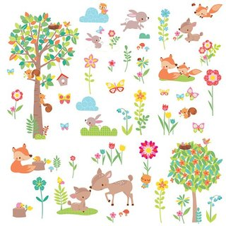 RoomMates RMK3209SCS Woodland Creatures Peel and Stick Wall Decals