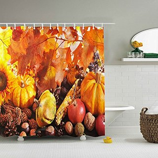 """Happy Thanksgiving - Waterproof Mildew Resistant Fabric Polyester 100% Shower Curtain.60 """"X 72"""""""