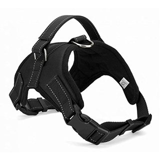 WIGGLE TAIL No Pull Dog Harness with handle, Reflective Adjustable Vest Harness for Small/Medium/Large dogs in Training Walking and Hiking(Black Oxford, Large)