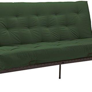 True 6-Inch Cotton/Foam Futon Mattress, Twin-size, Twill Hunter Green Mattress Color