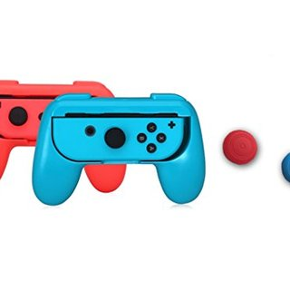 Joy-Con Grips for Nintendo Switch, Comfortable Gaming Game Best Touch Wear-resistant Joy-con Handle for Play Long Time,Operate Sensitive Easy 2 Pack with 2 Button Caps (Black,Red,Blue)