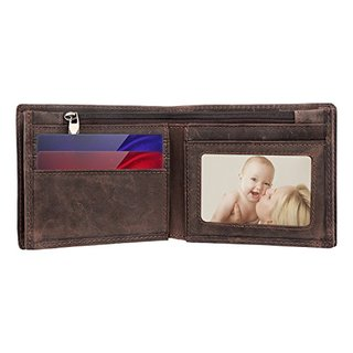WAGOLO Men's Cowboy Genuine Natura Leather Bifold Wallet
