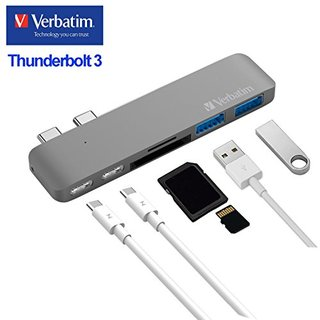"Verbatim Thunderbolt 3 USB-C Hub Adapter,Aluminum Type-C Hub for 2016/2017 MacBook Pro 13""15"", Fastest 40Gbs, Pass-Through Charging, 2 USB 3.0 Ports SD/Micro Card Reader-Space Grey"
