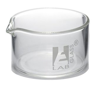 Small Crystallizing Dish (50x30mm) - Borosilicate Flat Bottom with spout, 40ml capacity - Eisco Labs
