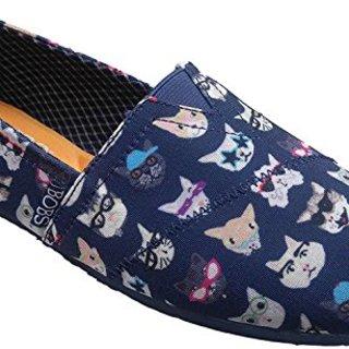 BOBS from Skechers Women's Plush - Kitty Flat, Navy Kitty , 5.5 M US