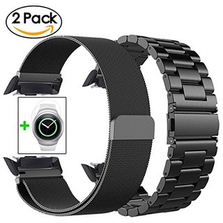 Samsung Gear S2 Bands - CAGOS 22mm Metal Band+Milanese Loop Mesh Bracelet Strap for Gear S2 Sport Smart Watch SM-R720/R730 +TPU Screen Protector (Metal+Mesh Black)