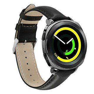 Samsung Gear Sport Watch Band,YiJYi 20mm Genuine Leather Sport Replacement Band Strap for Samsung Gear Sport Smart Fitness Watch (Black)