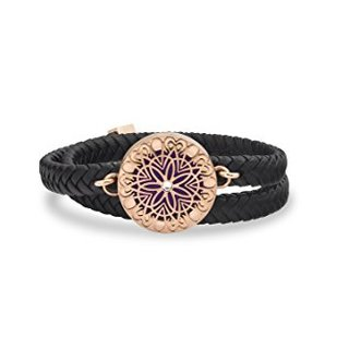 Unique Diffuser Aromatherapy Bracelet, Double Wrap Faux Leather, 25mm Rose Gold Locket (Rose Gold)