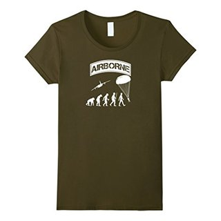 Womens Airborne Evolution Funny Shirt - 82ND Airborne Division Medium Olive