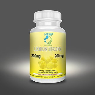 Hemp Infusionz 200mg Lemon Lozenge Hemp Extract Edible Candy 20mg Hemp Per Piece 10 Hemp Pieces Per Bottle NO CANNABIS Hemp Isolate Candy Known To Help As Sleep Aid, Anxiety Relief, PTSD, Pain Reducer