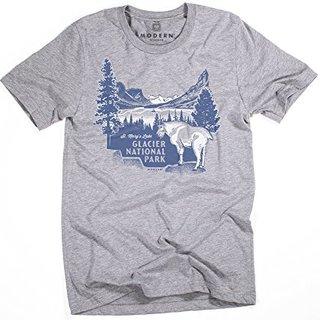 Superluxe&Trade; Mens Vintage Glacier National Park Tri-Blend T-Shirt, Grey Triblend, Small