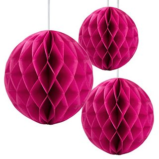 "Floral Reef Set of 3 Assorted Sizes (8"", 10"", 12"") - FUSCHIA Tissue Paper Honeycomb Ball Pom Pom Flower Hanging Home Decoration Party Wedding"
