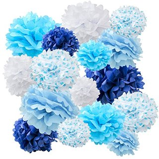 "Floral Reef Variety Set of 16 (Assorted Dotted Blue Color Pack) consisting of 8"" 10"" 14"" Tissue Paper Pom Poms Flower"