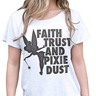Superluxe™ Womens Faith, Trust and Pixie Dust Tinkerbell Dolman T-Shirt, Heather White, XX-Large