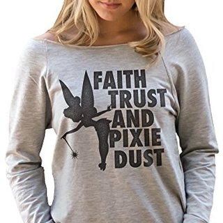 Superluxe™ Womens Faith, Trust and Pixie Dust Tinkerbell French Terry Top, Heather Grey, Large