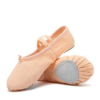 CIOR Ballet Slippers For Girls Classic Split-Sole Canvas Dance Gymnastics Yoga Shoes Flats(Toddler/Little Kid/Big Kid) VTW01,2skin,34