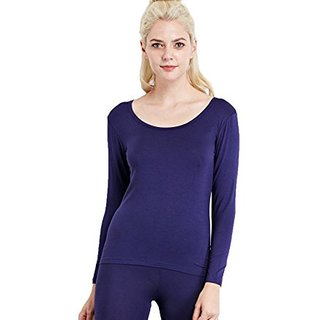 Liang Rou Women's Round Neck Ultra-Thin Underwear Long Sleeve Shirt Top Navy Blue S