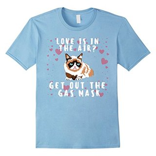 Mens Love Is In The Air? Get Out The Gas Mask Funny Cat T-Shirt Small Baby Blue