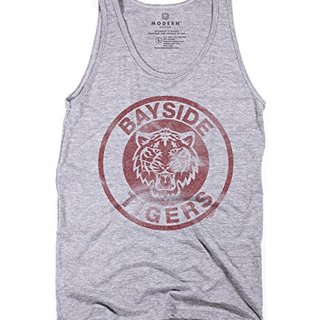 Superluxe™ Mens Bayside Tigers AC Slater Zack Morris Unisex Tri-Blend Tank Top, Small, Athletic Grey