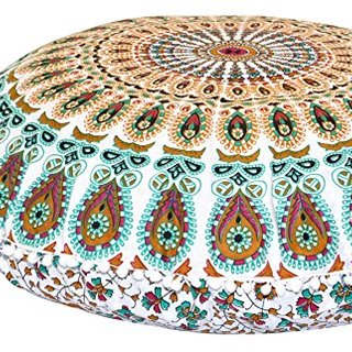 "ANJANIYA - 32"" Bohemian Mandala Floor Pillow Meditation Cushion Seating Throw Cover Hippie Decorativ Boho Indian (Multi)"