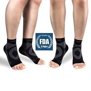 Featol Plantar Fasciitis Socks(2 PAIRS) with Arch Support Ankle Support for Men and Women, Ankle Compression Socks Foot Sleeve to Relieve Arch Pain, Better than Night Splint