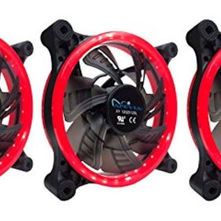 APEVIA 312L-CRD 120mm Silent Dual Rings Red LED Fan with 32 x LEDs & 8 x Anti-Vibration Rubber Pads (3 Pk)
