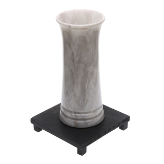 Marmol Stonework Cylindrical Marble Vase with Groove White (MBVCYGRT-W)