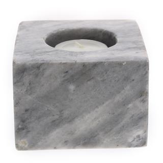 Marmol Stonework Square Marble Candleholder Gray (MSQCNDH-G)