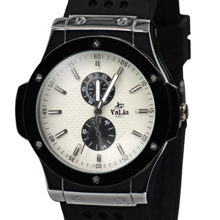 Valia Mens Rubber Strap Watch  (8190-2WT)