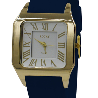 Rocky Thin Premium Unisex Gold Blue Silicone Rubber Watch (T019D-P-4)