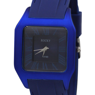 Rocky Thin Classic Unisex Blue Silicone Rubber Watch  (T019D-2)