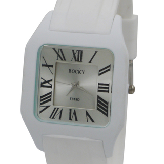 Rocky Thin Classic Unisex White Silicone Rubber Watch (T019D-5)