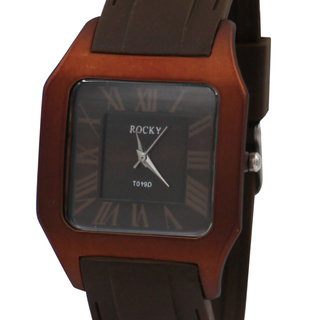Rocky Thin Classic Unisex Brown Silicone Rubber Watch (T019D-3)