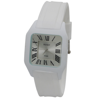 Rocky Thin Unisex White Silicone Rubber Watch (T019X-5)